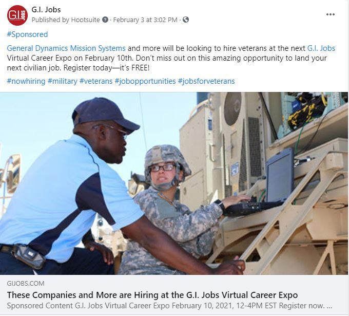 GI Jobs Virtual career Expo - Sponsored Social Post