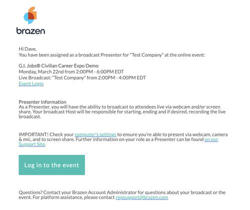 GIJobs Virtual Career Expo - Presenter Email